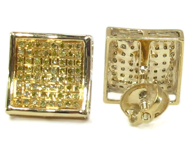 Image of  STERLING SILVER CANARY DIAMOND MENS SQUARE EARRINGS