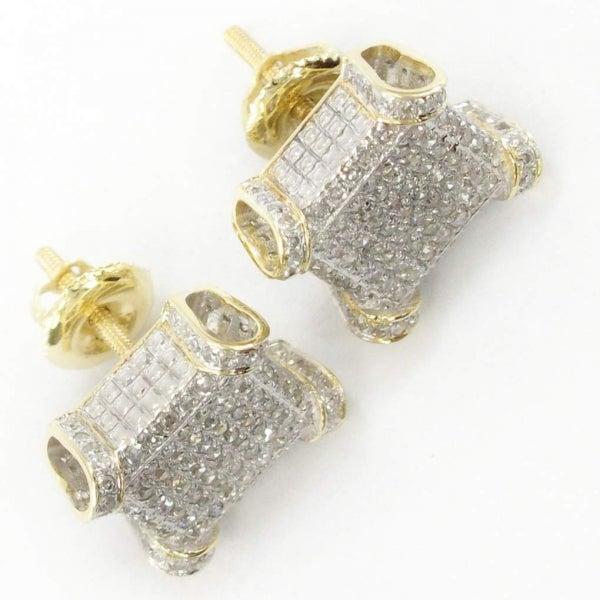Image of 10KT GOLD MENS DIAMOND CUBE EARRING