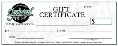 Image of CAPTURED GIFT CERTIFICATE $250