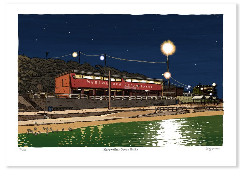 Image of Merewether Baths at Night Digital print