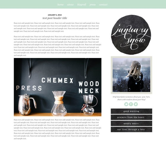 Floral fancy blogger template maiedae templates image of january snow blogger template pronofoot35fo Images