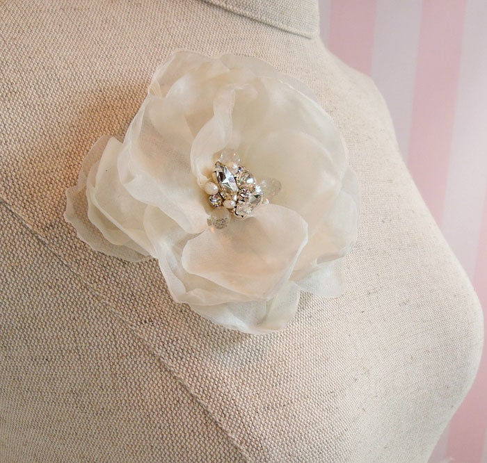 Image of Fiona Ivory Silk Flower Fascinator with Rhinestone Pearl and Gemstone