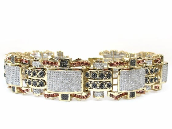 Image of   10K GOLD MULTI COLOR DIAMOND MENS BRACELET