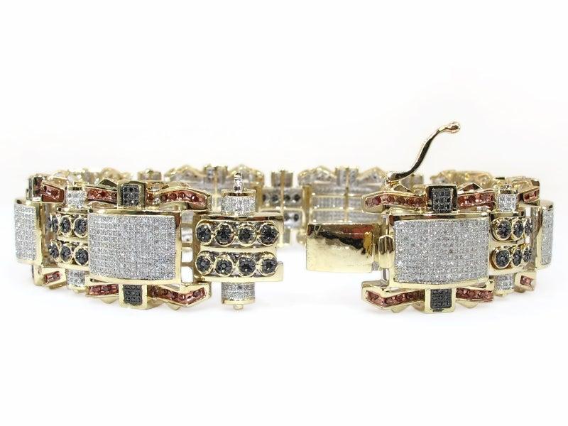 Image of   10K GOLD MULTI COLOR DIAMOND MENS BRACELET