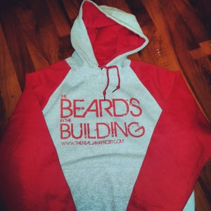 Image of HEATHER GREY and RED BEARDS IN THE BUILDING HOODIE  WITH RED PRINT