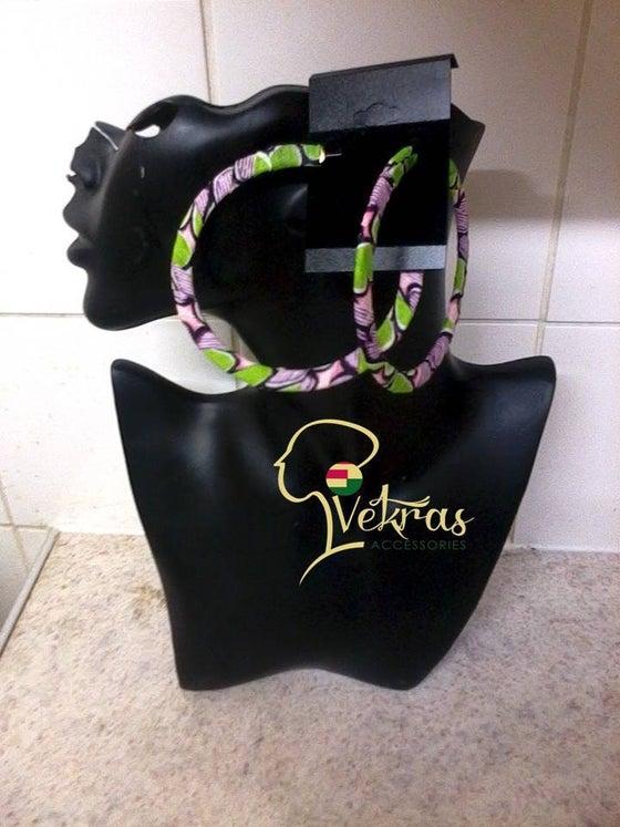 Image of Pink/Green/Purple Ankara Hoop Earrings