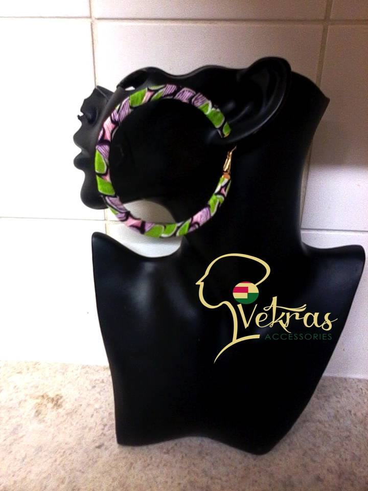 Image of Pink/Green/Purple Ankara Hoop Earrings