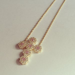 Image of Cross Necklace with Pink Stones