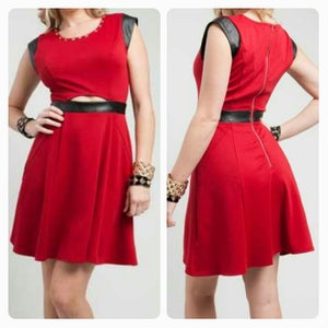 Image of RED FAUX TRIM HOLIDAY DRESS
