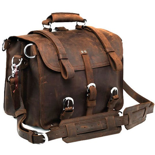 Image of Large Vintage Handmade Antique Crazy Horse Leather Travel Bag / Satchel - Backpack / Messenger(z14)