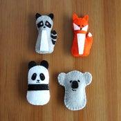 Image of Felt Stuffy Friends.  Raccoon, Fox, Koala and Panda.