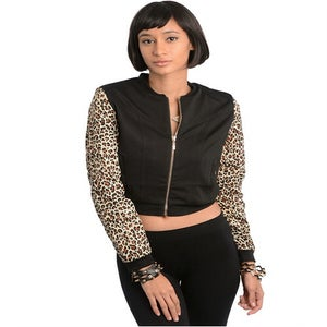 Image of Aminal print jacket with zippers on sleeves
