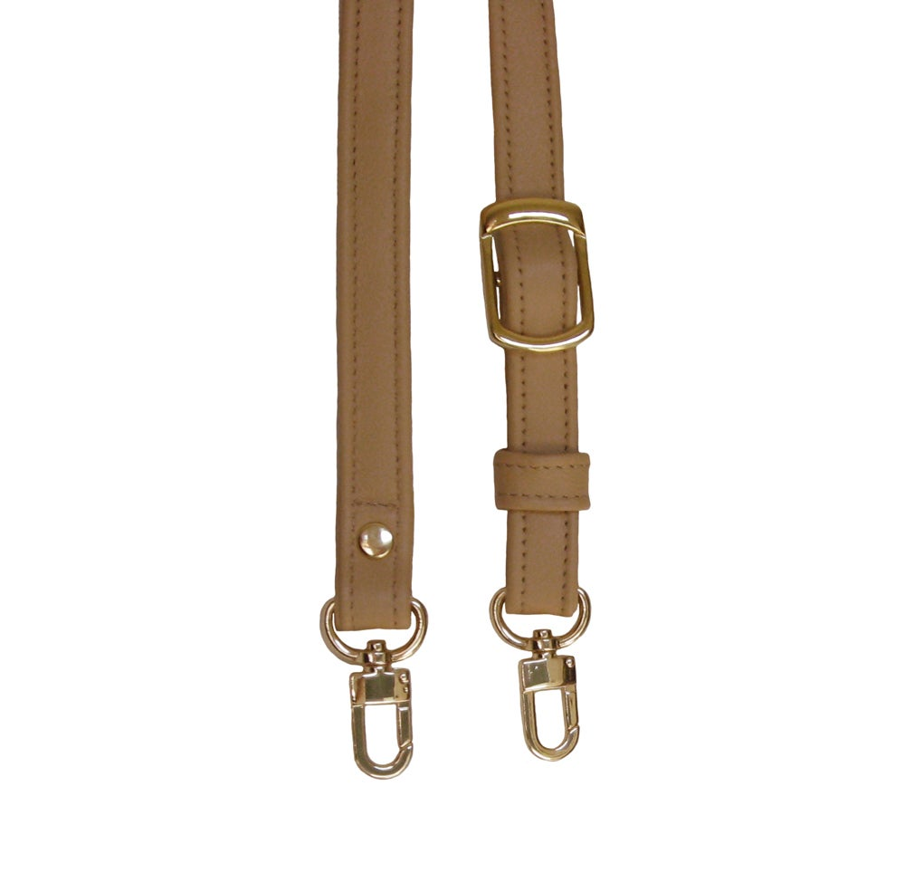 "Image of 55"" (inch) Adjustable Leather Strap - .75"" Wide - GOLD or NICKEL #16 Hooks - Choose Color & Hardware"