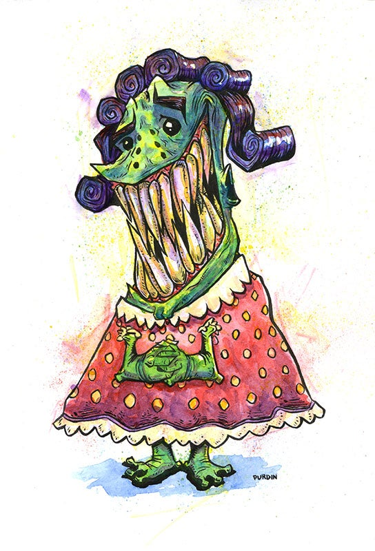 Image of Creature Gramma? Watercolor/Ink
