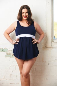 Image of Plus Maternity 2 Piece Tankini - Navy & White