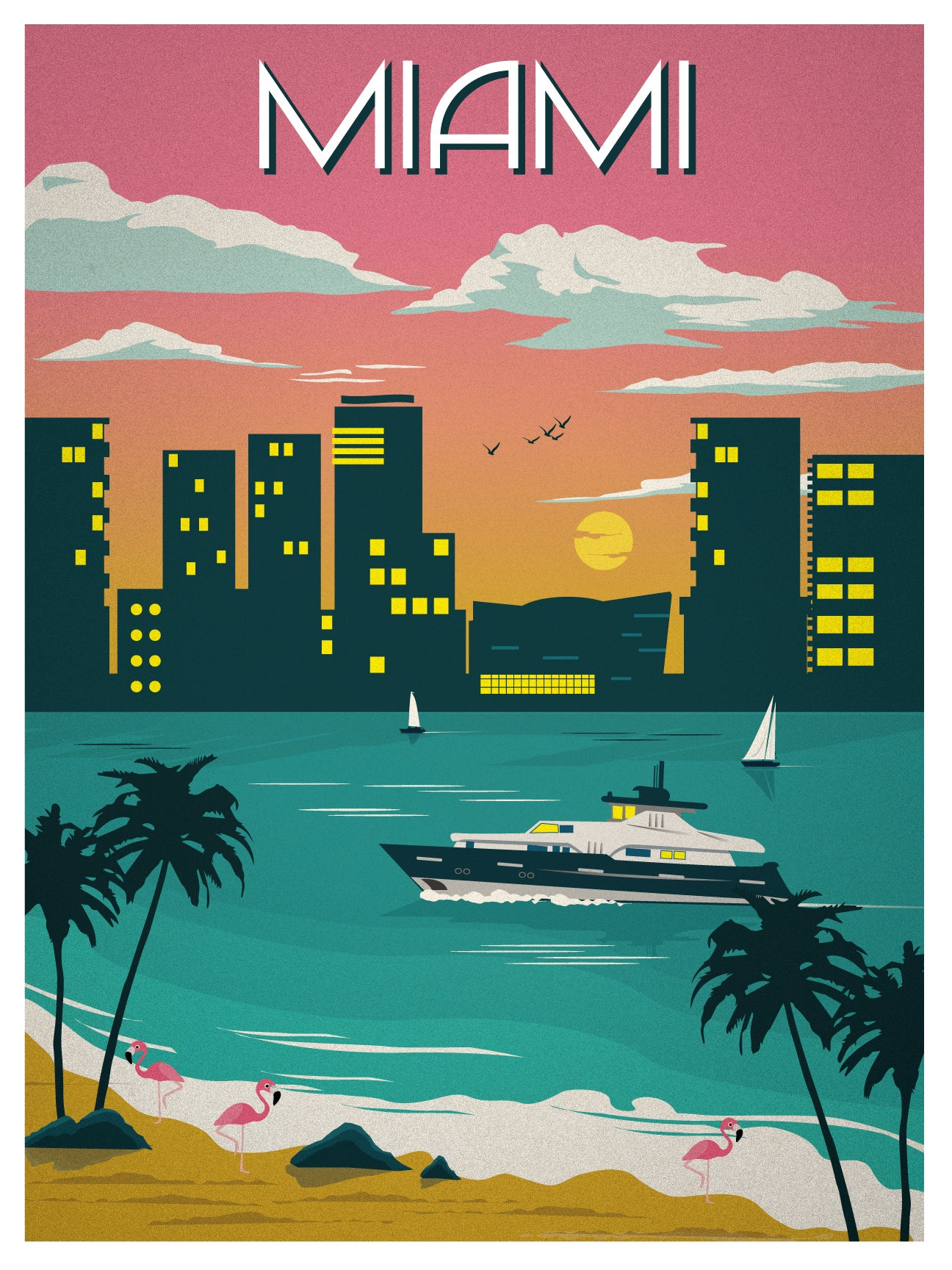 ideastorm media store vintage miami travel poster. Black Bedroom Furniture Sets. Home Design Ideas