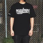 "Image of ""NGUYENING"" SILVER & BLACK T-SHIRT"
