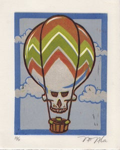 Image of Skull Balloon Lino-cut