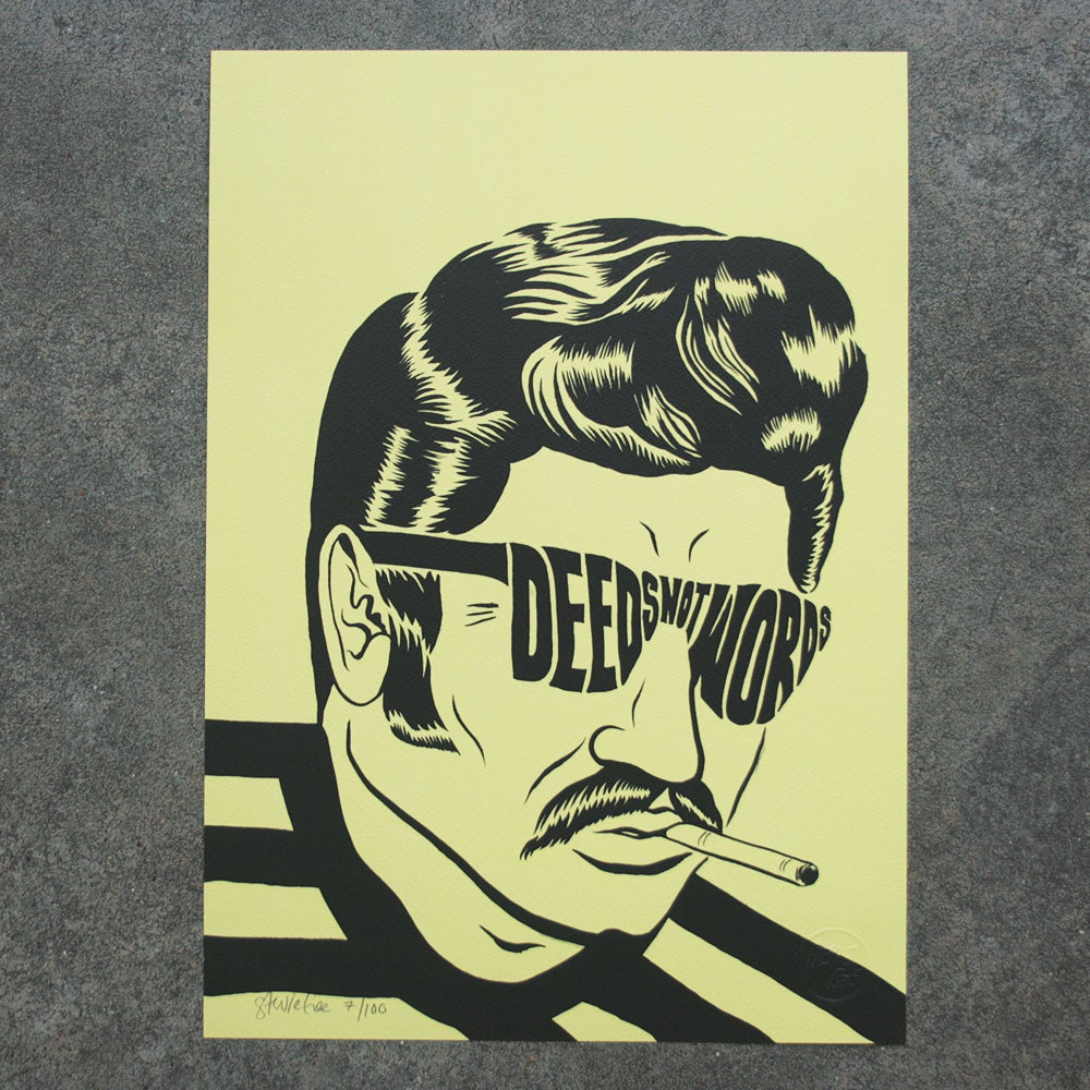 Image of DEEDS NOT WORDS LIMITED EDITION A3 INDIGO PRINT