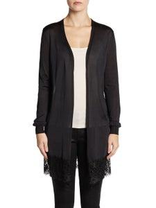 Image of Emillio pucci lace trim silk sweater