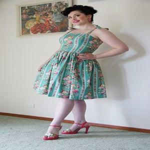 Image of 'Zowie' dress - Green wallpaper