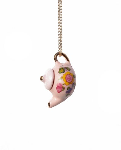 Image of pink tea pot necklace