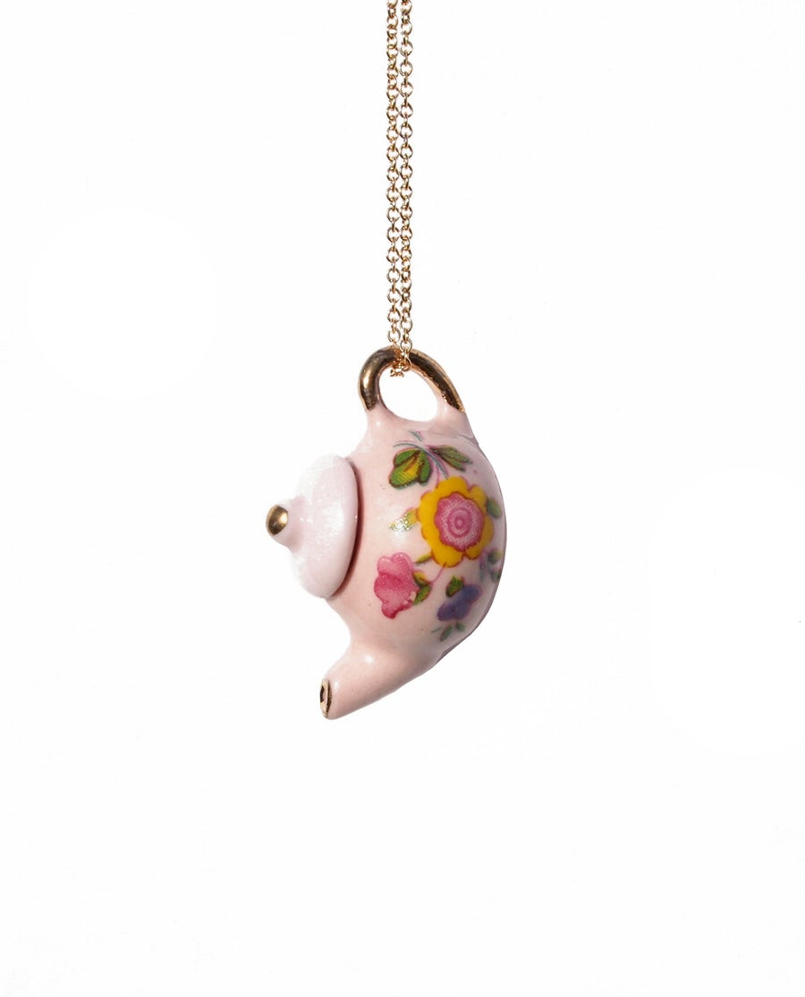 Image of pink tea pot necklace