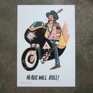 Image of HEADS WILL ROLL LIMITED EDITION A3 INDIGO PRINT