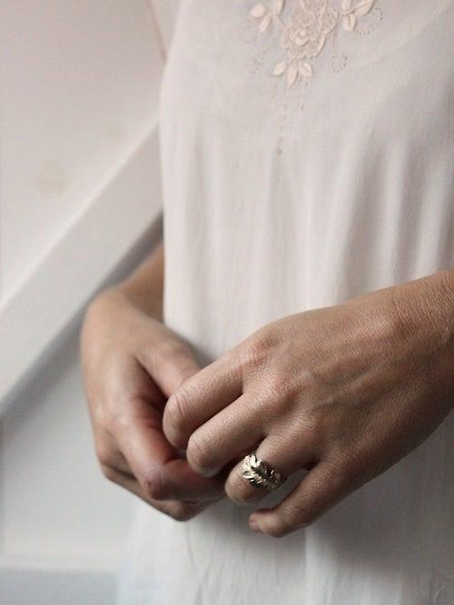 Image of gold oak leaf ring