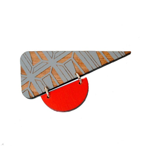 Image of Etched triangle brooch pin  - various colours