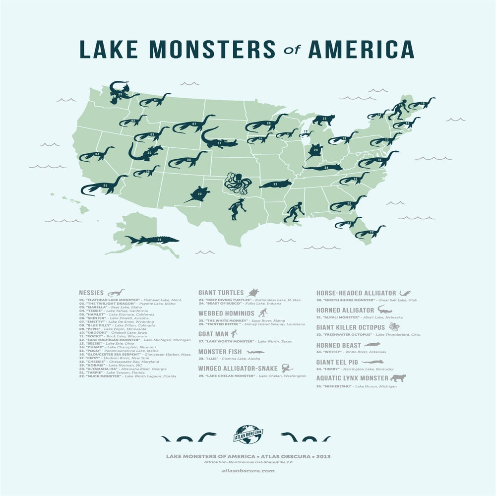 Image of Lake Monsters of America Map