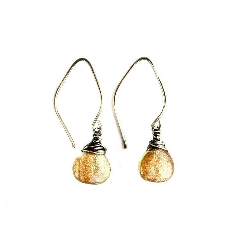 Image of Copper glitter glass earrings