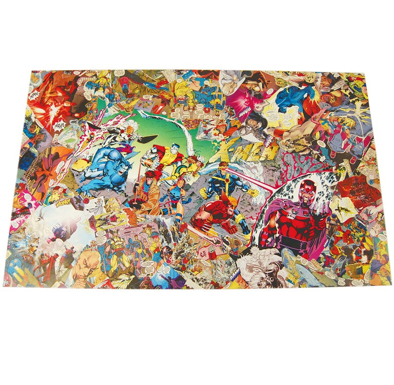 Image of Jim Lee Signed X-Men Comic Collage Table and Legs