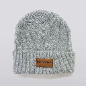 Image of Heather Leather Patch Beanie