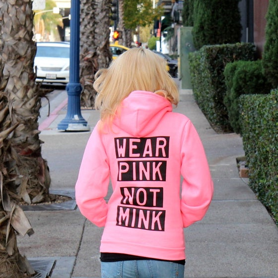 Image of Wear Pink, Not Mink Fleece Unisex Hoodie
