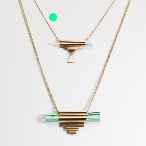 "Image of ""TUBES ORGUES FRINGES"" SHORT NECKLACE"