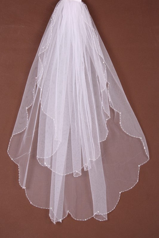 Image of Stunning Beaded Veil - White