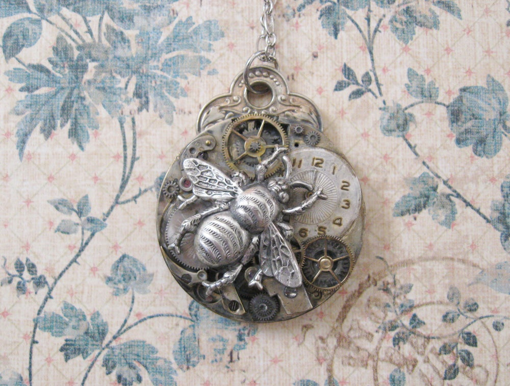 Image of Steampunk Victorian Silver Bee Pocket Watch Pendant with Watch Face