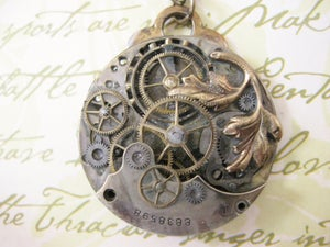 Image of Steampunk Neo Victorian Antique Bronze Leaf Sprig Pocket Watch Pendant