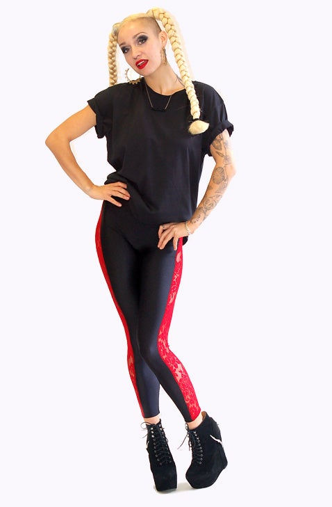 Image of ONEIKA Leggings in RED LACE