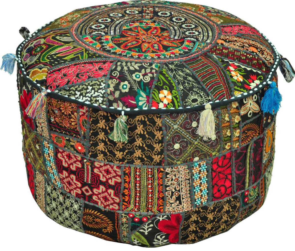 jaipurhandloom bohemian patchwork vintage indian pouf. Black Bedroom Furniture Sets. Home Design Ideas
