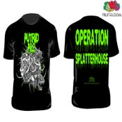 Image of PUTRID PILE - OPERATION SPLATTERHOUSE T-SHIRT RED/GREEN (PRE-ORDER)