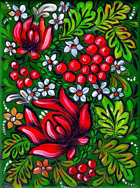 Image of Gipsy Flowers - Red on Green