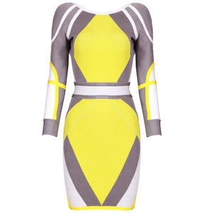 "Image of ""Bridgel"" Target Angle Gray Yellow Bandage Bodycon Midi Dress"