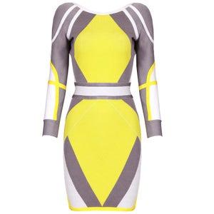 "Image of ""Bridgel"" Target Angle Gray Yellow Bandage Bodycon Midi Dress"