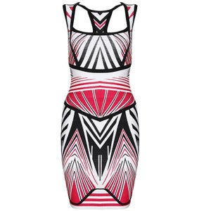 Image of Red Black White Aztec Tribal Love Bodycon Bandage Midi Dress