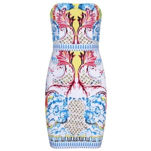 Image of Pink Blue White Yellow Color Burst Tribal Aztec Bandage Bodycon Midi Dress
