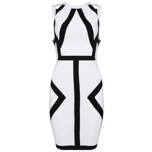 "Image of ""Sherri"" Art Deco Black White Bandage Bodycon Pencil Midi Dress"