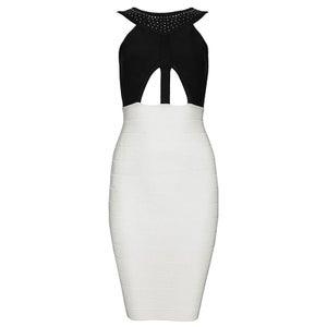 """Image of """"Danielle"""" Cruella Black White Cutout Bandage Bodycon Pencil Midi Dress"""