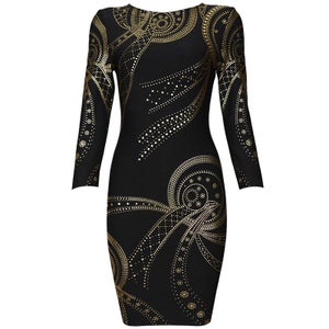 "Image of ""Katrina"" Black Gold Shooting Time Traveler Bandage Bodycon Pencil Midi Dress"